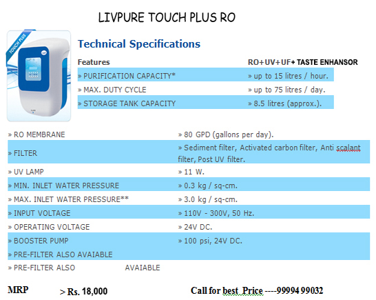 livpure touch plus ro
